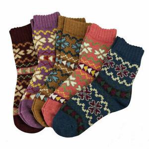 5 Pairs Women Winter Thick Socks Ladies Warm Soft Wool Nordic Novelty Socks