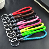 Fashion Braided PU Leather Strap Keyring Keychains Car Key Chain Rings Keys F Io