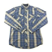 Realtree Mens Blue Yellow Snap Front Long Sleeve Shirt S