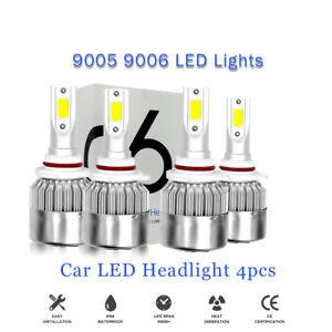 4pcs 9005 9006 Combo LED Headlight Kits 120W High/Low Beam Bulbs 6000K White
