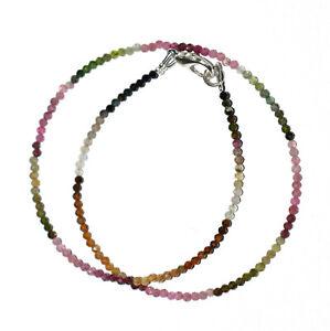 "925 Sterling Silver Multi Tourmaline Gemstone 2 mm Beads 16"" Strand Necklace YTG"