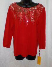 Ruby Rd. Lady Knit Top Size M NWT Red Rhinestone Rayon Blend 3/4 Sleeve Boat $50