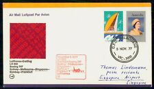 Mayfairstamps Australia 1977 Lufthansa First f 00004000 light cover to Singapore wwg8337