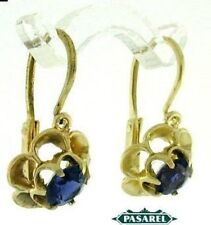 Pair of New 14k Yellow Gold Iolite Floral Earrings