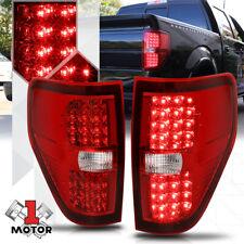 Chrome Housing Red Lens *FULL LED* Tail Light Brake Lamp for 09-14 Ford F150
