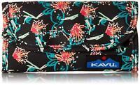 Kavu Womens Big Spender Tri-Fold Wallet Sparklers - Black & Peach New