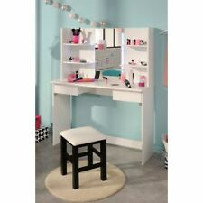 Beauty Bar White Wood Dressing Table with Lights and Mirror 141cm x 108cm x 40cm