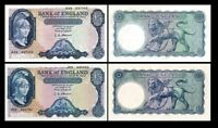 2x 5, 5 English Pounds - Issue ND 1957 - 1967 - 4 Banknotes - 04