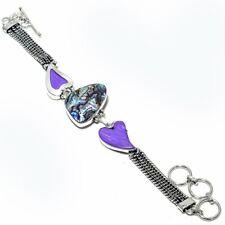 "Handmade Jewelry Bracelet 7-8"" Zb-588 Abalone Shell, Charoite Heart Gemstone"
