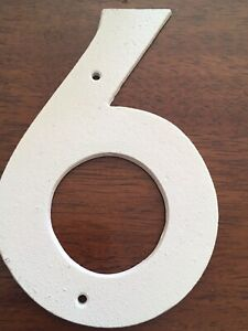 Large Cast Iron White Rustic No.6 House Number - House Fence Letterbox - 160mm