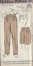 "1940s Vintage Sewing Pattern W37"" MENS PANTS TROUSERS SHORTS (1238)"