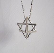 Silver Merkaba charm  3D Star tetrahedron necklace