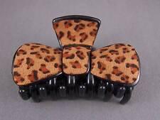 "Cheetah leopard print plastic 3 3/8"" long barrette Big Huge hair clip claw clamp"