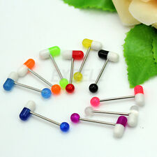 New 10PCS Pill Style Tongue Nipple Mixed Color Bar Ring Barbell Body Piercing