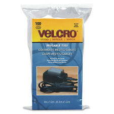 Velcro Black Reusable Self Gripping Cable Ties 0.5 Inches x 8 Inches Long 300 ct