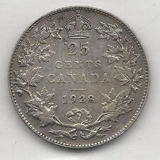CANADA,  1928,  25 CENTS,  SILVER, KM#24a, EXTRA FINE
