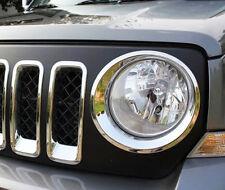 Chrome Front Head Light Lamp Surrounding Garnish Trim for Jeep Patriot 2011-16