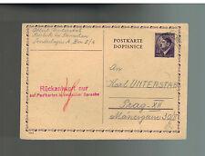 1945 Bistritz BM Germany Concentration Camp Postcard Cover Albert Unterstab