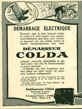 Publicité ancienne accessoire automobile démarreur Colda issue de magazine 1921