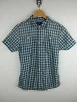 Scotch & Soda Mens Shirt Size L Short Sleeve Button Up Regular Fit Red Plaid