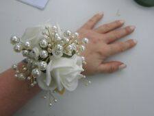 Ivory Pearl Bling Wrist Corsage Prom Or Wedding Flowers Rose Bride Maid Mother
