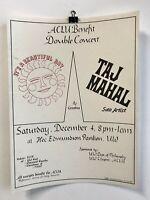 American Civil Liberties Union Benefit Double Concert 1970's Poster Taj Mahal