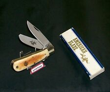 """American Blade Knife AB-20 Bone Stag Baby Bullet Trapper 3-1/2"""" W/Packaging,Rare"""