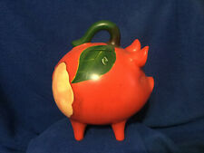 Vintage Hand Painted Piggy Bank Made in Mexico Watermelon Piggy Red Green Decor