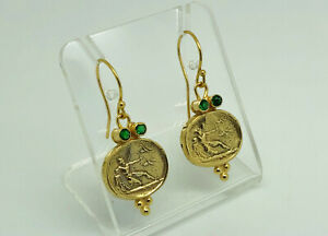 Gorgeous Studio Crafted Gold on Sterling Silver Roman Oval Seal Drop Earrings