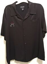 New Kustom Kulture Retro Rockabilly Greaser Lounge Black Bowling Camp Shirt L