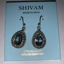 Shivam Made in India .925 Sterling Silver Blue Mystic Quartz Earings New