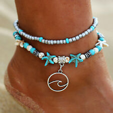 Womens Ankle Bracelet Double Chain Turquoise Beaded Beach Foot Jewellery Anklets