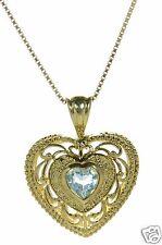 Gold Over Solid 925 Sterling Silver Blue Topaz Filigree Heart Pendant Necklace '