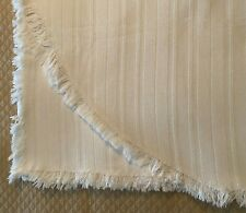 """Sofa Couch Throw Cover 128"""" x 65"""" (SeeDiagram) Ivory Woven Stripes Fringe Spread"""