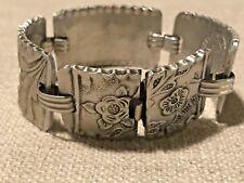 Vtg Aluminum Hand Hammered Repousse Bracelet Wendell August Forge 1940S Floral