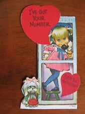Vintage 1970's PETE HAWLEY Valentine's Day Card Unused Girl in Phone Booth Puppy