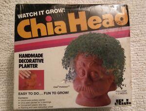 Chia Head Handmade Decorative Planter New in box