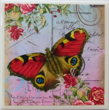 Set of 4- Handmade Natural Stone Ceramic Tile Drink Coasters - Butterflies 5 - I