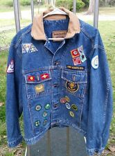 CUB SCOUT DEN LEADER'S DENIM JEAN JACKET MEN MEDIUM M TIMBERLAND  W/ BADGES
