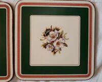 Vintage Spode CHRISTMAS ROSE Pattern Acrylic Cork Back Coasters England Set of 6