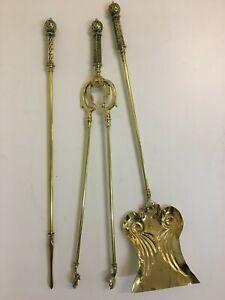 Antique Art Nouveau Brass Companion Set Fireplace Tools Shovel Tongs Poker QP303
