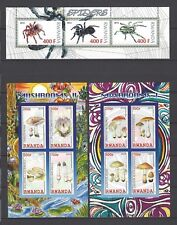 Rwanda 2010-12  Spiders and Mushrooms MNH Souvenir Sheets