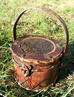 Vintage bamboo wooden bound Lockbox Handmade Storage Mini Chest With Handle Rare
