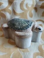 Handmade Porcelain Sea Turtle Trinket Box by Carol Halmy Signed by artist
