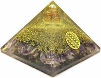 X-LG 70MM Amethyst Orgone Pyramid Healing Crystals Chakra Meditation Balancing