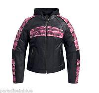 Harley Davidson Womens Pink CAMO Black Leather Jacket 3in1 Hoodie S M 97058-11VW