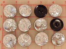 """12 vintage silver glass shank Czech buttons flower design 26mm 1"""" #78"""