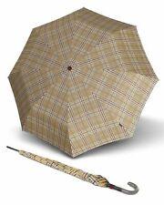 Knirps T.703 Stick Automatic Regenschirm Accessoire Check Beige Beige Schwarz