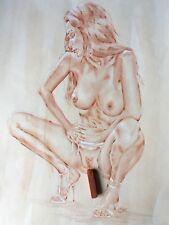 Original AKT Zeichnung 30*40cm RÖTEL ~ sanguine  nude ~ Nu crayons rouge