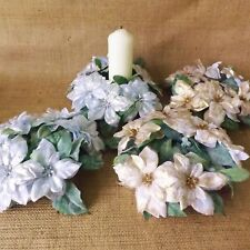 Gold Silver Crackle Poinsettia Christmas Wedding Candle Ring Wreath Decoration